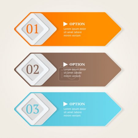 Modern option banners. Color stripes numbers on light background. Vector illustration.