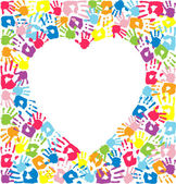 Heart of the handprints of father mother and children