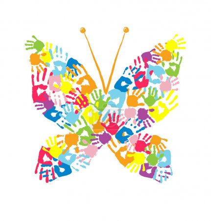 Illustration for Butterfly of the handprints of parents and children - Royalty Free Image
