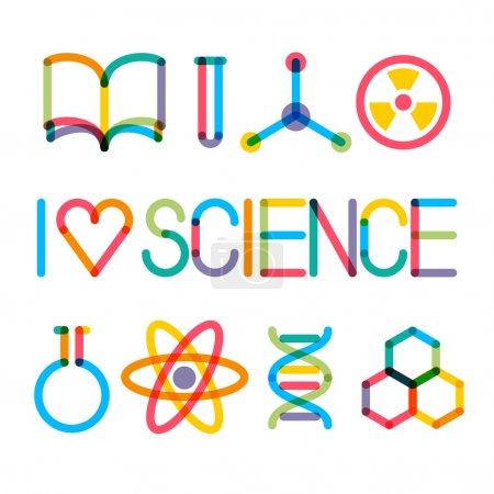 """Illustration pour Tendance multiplier les icônes de la science et la phrase """"J'aime la science """" - image libre de droit"""