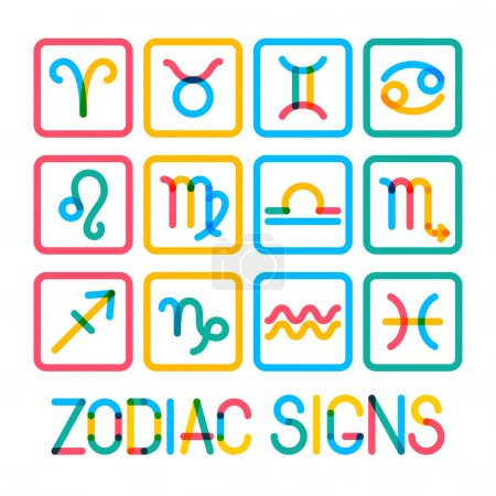 Illustration for Zodiac signs. Modern color icons. - Royalty Free Image