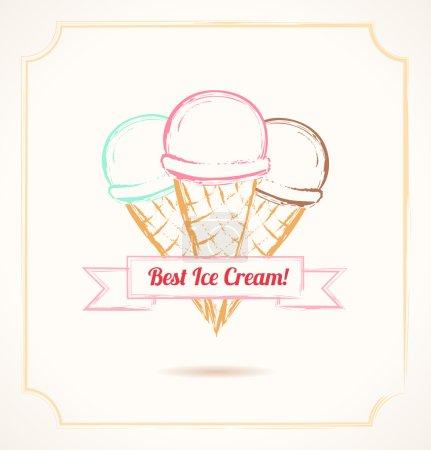 Illustration pour Affiche grunge vintage. Trois cônes de crème glacée avec arc - image libre de droit