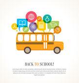 školní autobus s barevné bubliny a vzdělávání ikony. concep