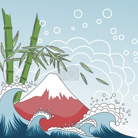 Illustration for Card with Fuji Mount, sea waves and bamboo tree - Royalty Free Image