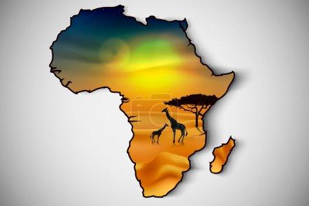 Illustration pour Paysage africain flore et faune au coucher du soleil avec girafes. Vecteur - image libre de droit