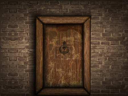 Old wooden door on a brick wall...