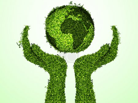 Illustration for Caring for the environment, arms out of the grass with a green globe. The concept of ecology - Royalty Free Image