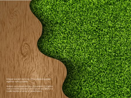 Illustration for Ecological concept of grass with wood - Royalty Free Image