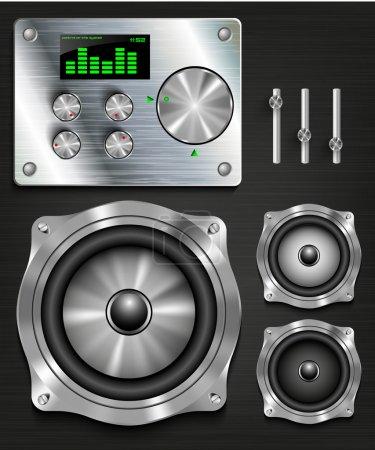 Management console speaker system. set knovok and regulators, display, equalizer and clock