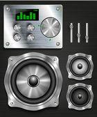 Management console speaker system set knovok and regulators display equalizer and clock