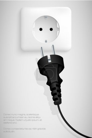 Illustration for Plug with a wire, the background for the text concept Energy - Royalty Free Image