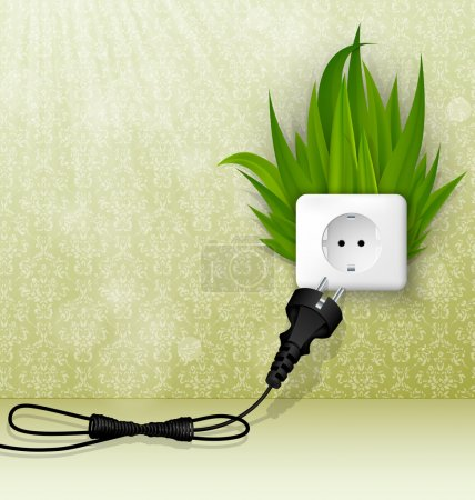 Illustration for Green grass and a socket with plugs. the concept of clean energy - Royalty Free Image