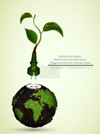 Green plug with leaves and planet. concept of clean energy