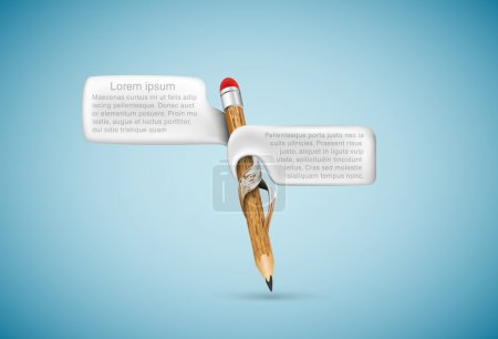 Wooden pencil with bubbles for text