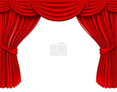 Illustration for Red silk curtains - Royalty Free Image