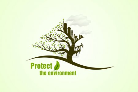 Illustration for Protect the environment. Green ecology tree concept for your design - Royalty Free Image