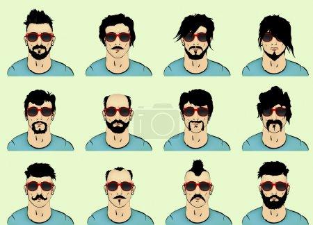 Vector set. hair, mustache, beard