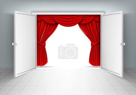 Illustration pour Rideaux de soie rouge et porte ouverte - image libre de droit
