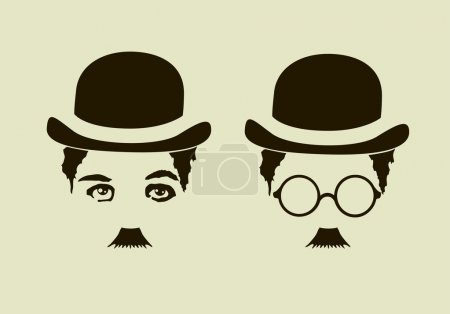 Illustration for Retro hat,  mustaches, glasses, Charlie Chaplin symbol - Royalty Free Image