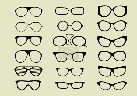 Set of different glasses