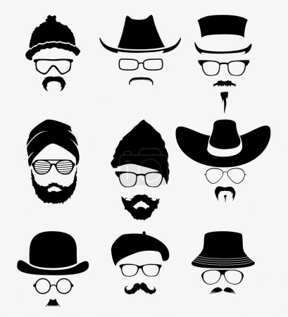 Hats with sunglasses and mustache