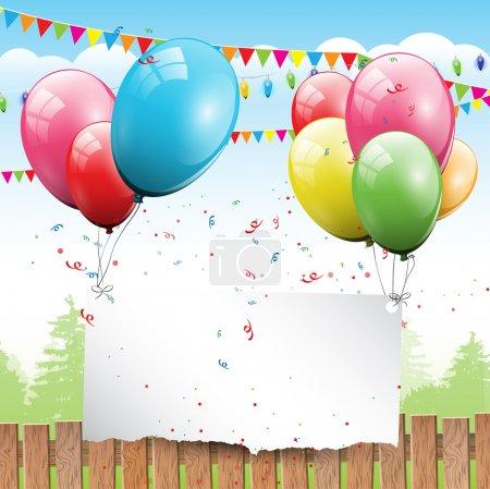 Photo pour Arrière-plan coloré anniversaire avec des ballons et de la place pour le texte - image libre de droit