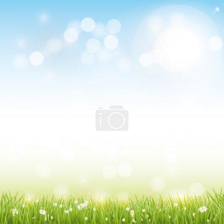 Illustration pour Paysage printanier avec des fleurs et de l'herbe sur fond flou - image libre de droit