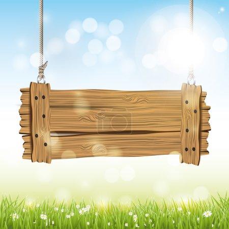 Illustration pour Fond vectoriel printemps avec panneau en bois - image libre de droit