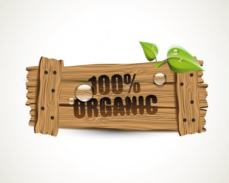 Illustration for 100 percent Organic - wooden bio icon with leaves and waterdrops - Royalty Free Image