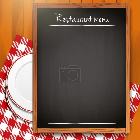 Illustration for Blackboard with copyspace on wooden background - Royalty Free Image