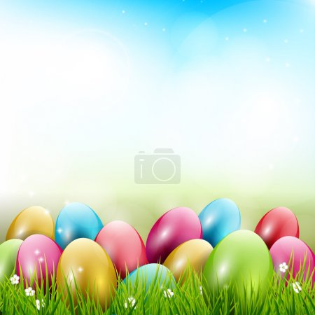 Easter background with colorful eggs in gras...