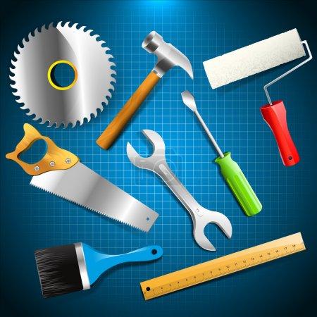 Illustration pour Ensemble vectoriel d'outils de construction - image libre de droit