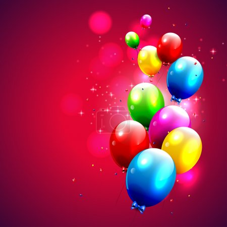 Modern red birthday background with colorful balloons