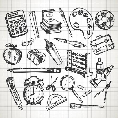 Set of hand drawn school supplies