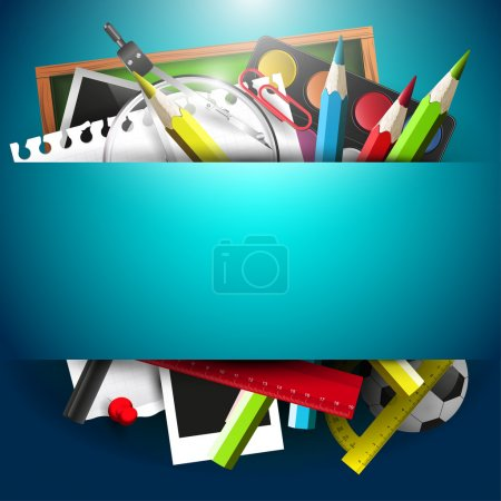 Photo for School supplies on blue background with place for tex - Royalty Free Image