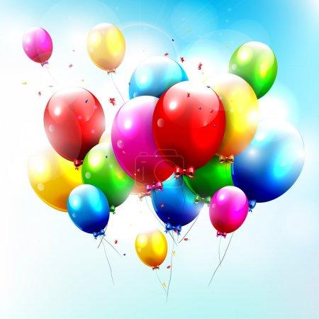 Illustration pour Ballons d'anniversaire volant dans le ciel - image libre de droit