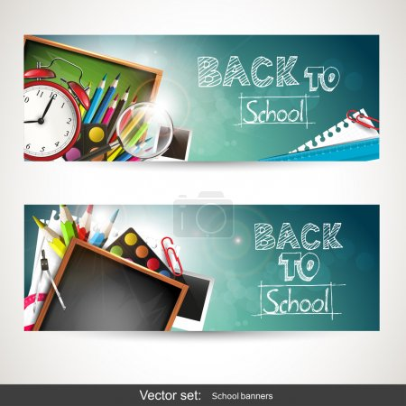 Illustration for Set of two horizontal banners with school supplie - Royalty Free Image