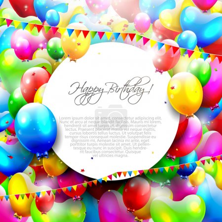 Illustration for Colorful birthday background with place for tex - Royalty Free Image