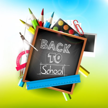 Illustration for Back to school - vector backgroun - Royalty Free Image