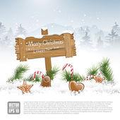 Wooden sign in winter landscape - vector background