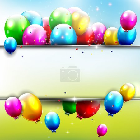 Illustration for Birthday background with flying balloons and copyspac - Royalty Free Image