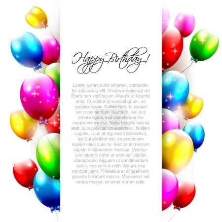 Illustration pour Ballons anniversaire sur fond blanc avec place pour le texte - image libre de droit