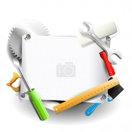 Illustration for Hand tools and empty paper with place for your text - Carpentry background - Royalty Free Image