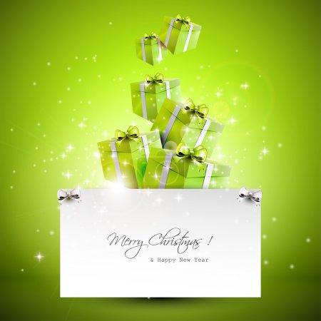 Illustration pour Boîtes-cadeaux volantes et papier avec place pour le texte - fond de Noël - image libre de droit
