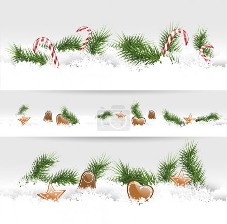 Set of three Christmas borders with gingerbreads a...
