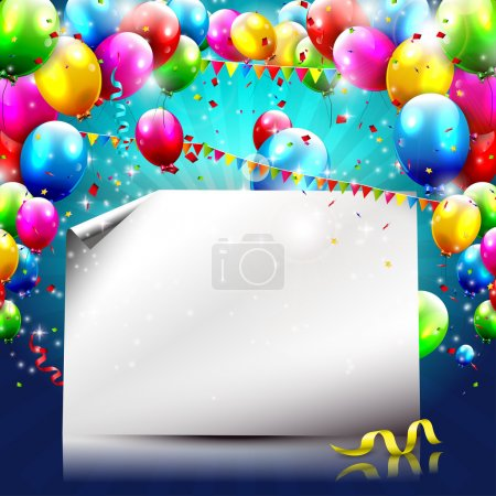 Illustration for Colorful birthday background with balloons and empty paper - Royalty Free Image