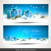 Set of two blue Christmas banners with gift boxes balls and branches in snow