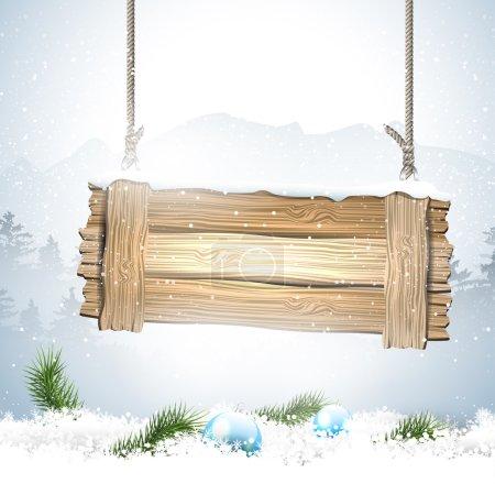 Illustration pour Paysage hivernal avec panneau en bois et neige - image libre de droit