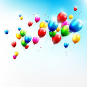 Birthday backgound with flying balloon