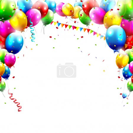 Illustration for Coloful birthday balloons isolated on white backgroun - Royalty Free Image